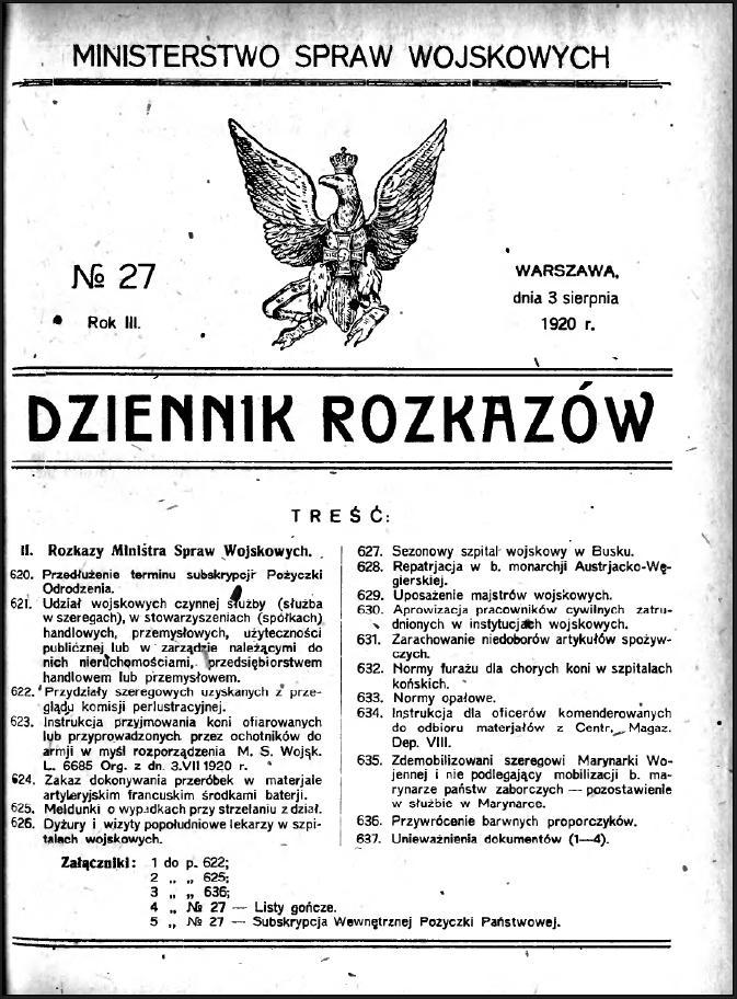 1920 Nr 27 Proporczyki kaw i art konnej