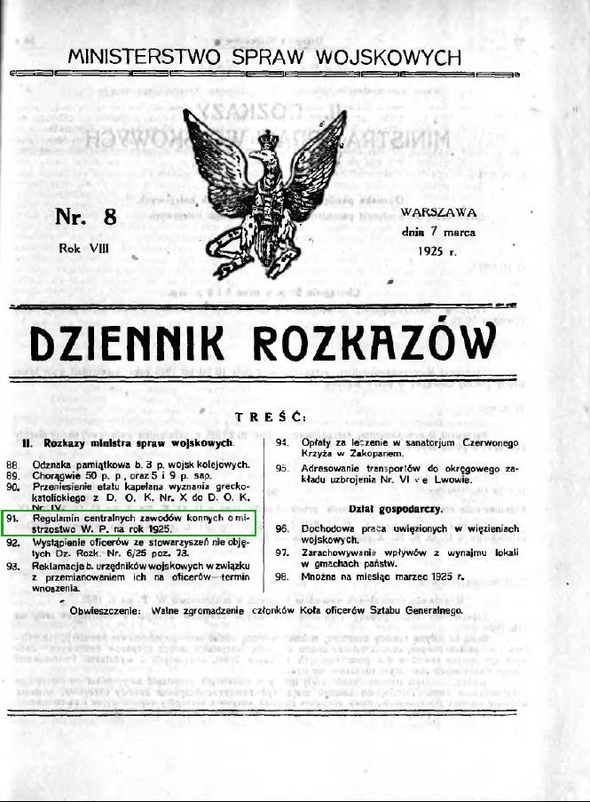 Dziennik Rozkazów 1925 Nr 8 Regulamin zawodów Militarii
