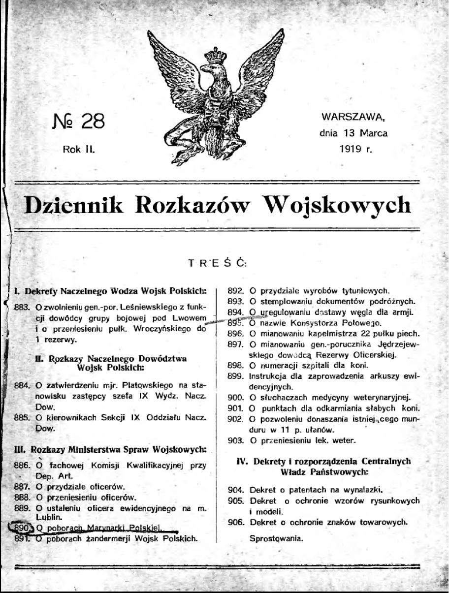 Dziennik Rozkazów nr 29 1919 r.