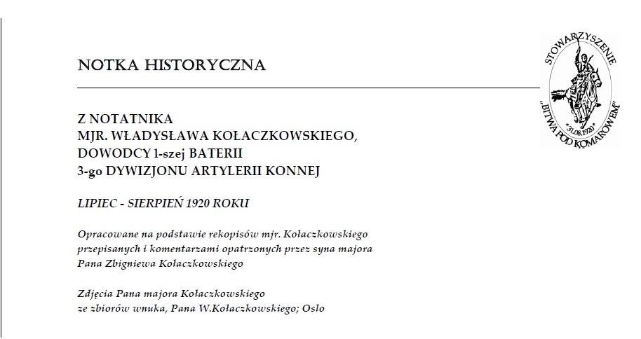 Notka historyczna: Mjr Kołaczkowski 1 bateria 3 DAK
