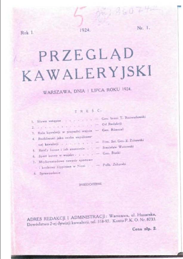 Przegląd Kawaleryjski 1924 zeszyt nr 1