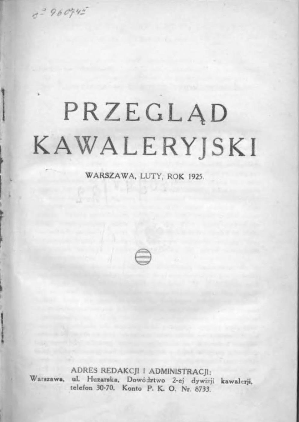 Przegląd Kawaleryjski 1925 zeszyt nr 1