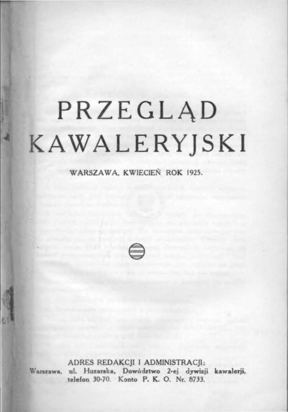 Przegląd Kawaleryjski 1925 zeszyt nr 2