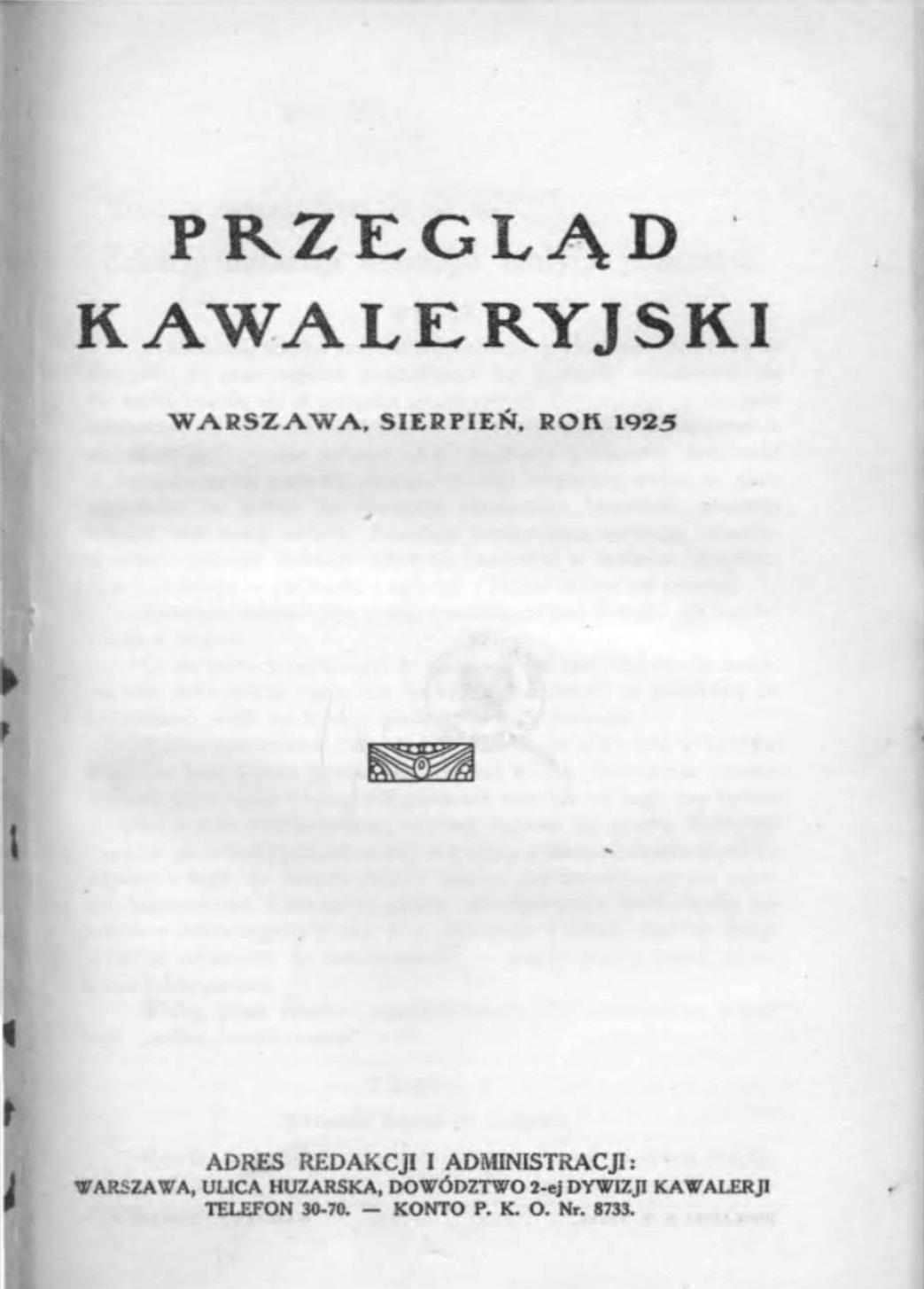 Przegląd Kawaleryjski 1925 zeszyt nr 4