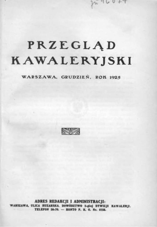 Przegląd Kawaleryjski 1925 zeszyt nr 6