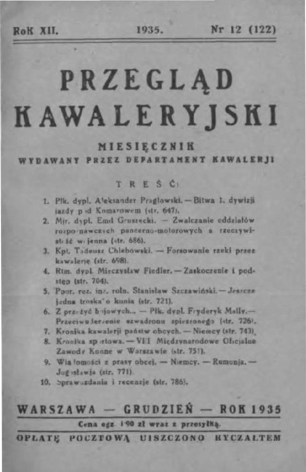 Przegląd Kawaleryjski 1935 zeszyt nr 12
