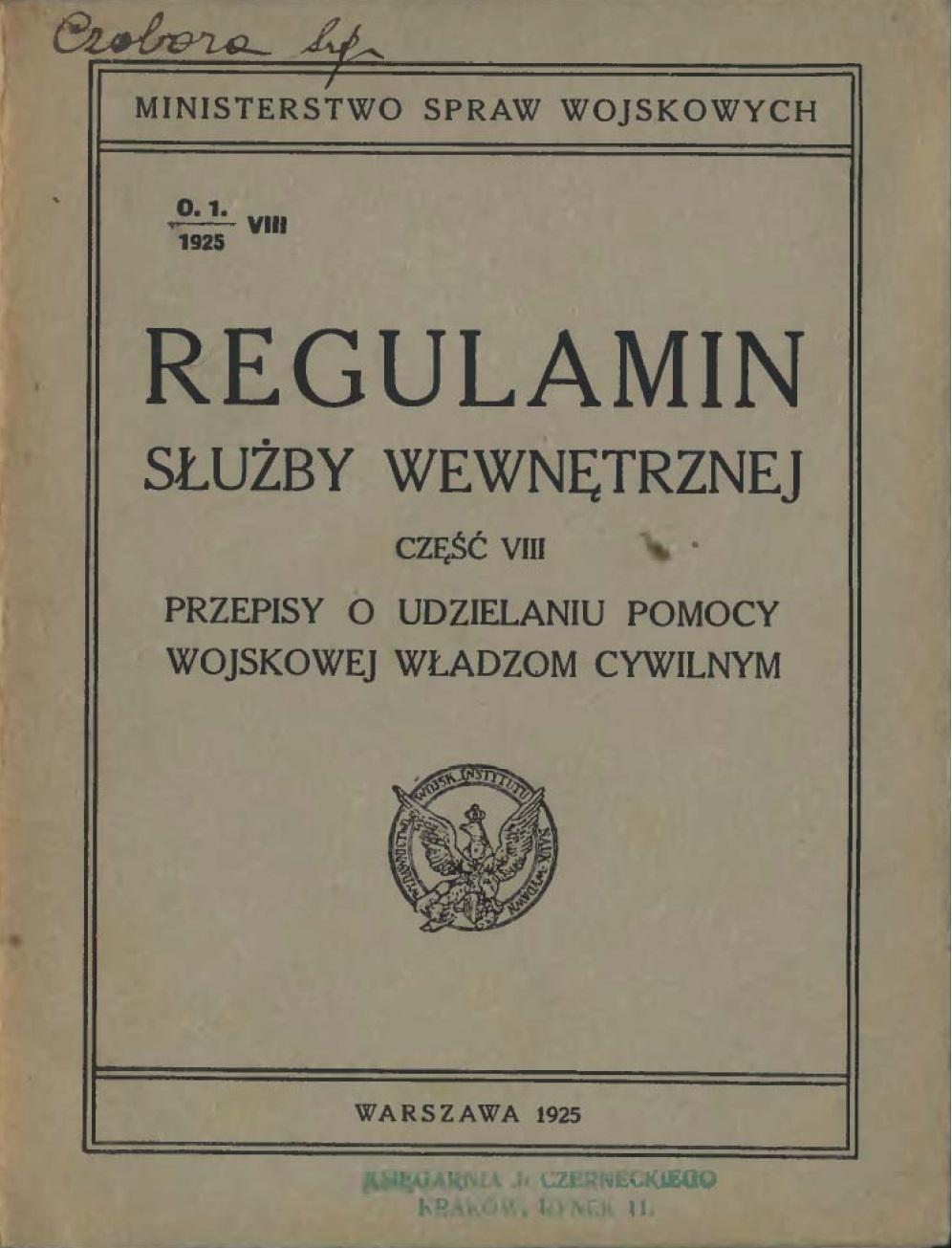 Regulamin służby wewnętrznej. Cz VIII. 1925 r.