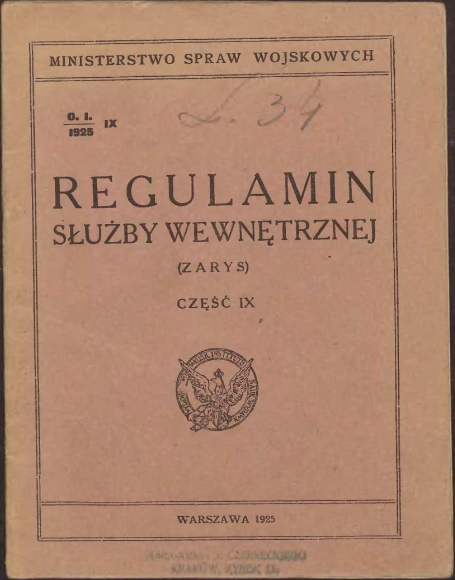Regulamin służby wewnętrznej. Zarys 1925 r.