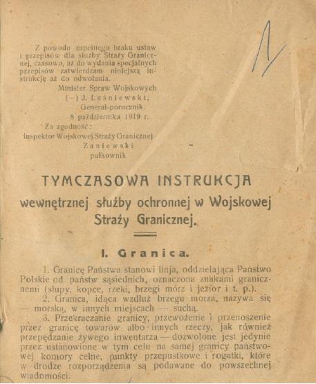 Tymczasowa instrukcja dla Straży Granicznej rok 1919